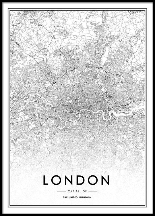 Poster with a map of London.