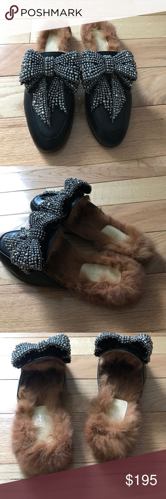 Gucci bow princetown fur loafer slippers 40 Brand new princetown fur slippers with crystal bow and fur lining. Sz 40 Gucci Shoes Flats & Loafers