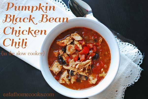 pumpkin black bean chicken chili: Recipe, Black Beans, Black Bean Chicken, Pumpkin Black, Chilis, Chicken Chili, Pumpkins, Slowcooker, Slow Cooker