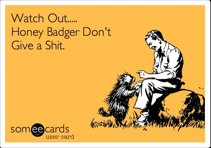 Woah Watch Out..... Honey Badger Don't Give a Shit. Lol nope!
