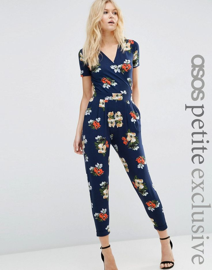 ASOS+PETITE+Exclusive+Wrap+Front+Jersey+Jumpsuit+with+Short+Sleeve+in+Navy+Floral+Print