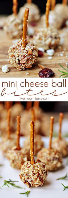 Mini Cheese Ball Bites ~ easy appetizer recipe featuring dried cranberries, blue cheese, toasted pecans, and pretzel skewers, perfect for the holidays or any party or get-together!   http://FiveHeartHome.com