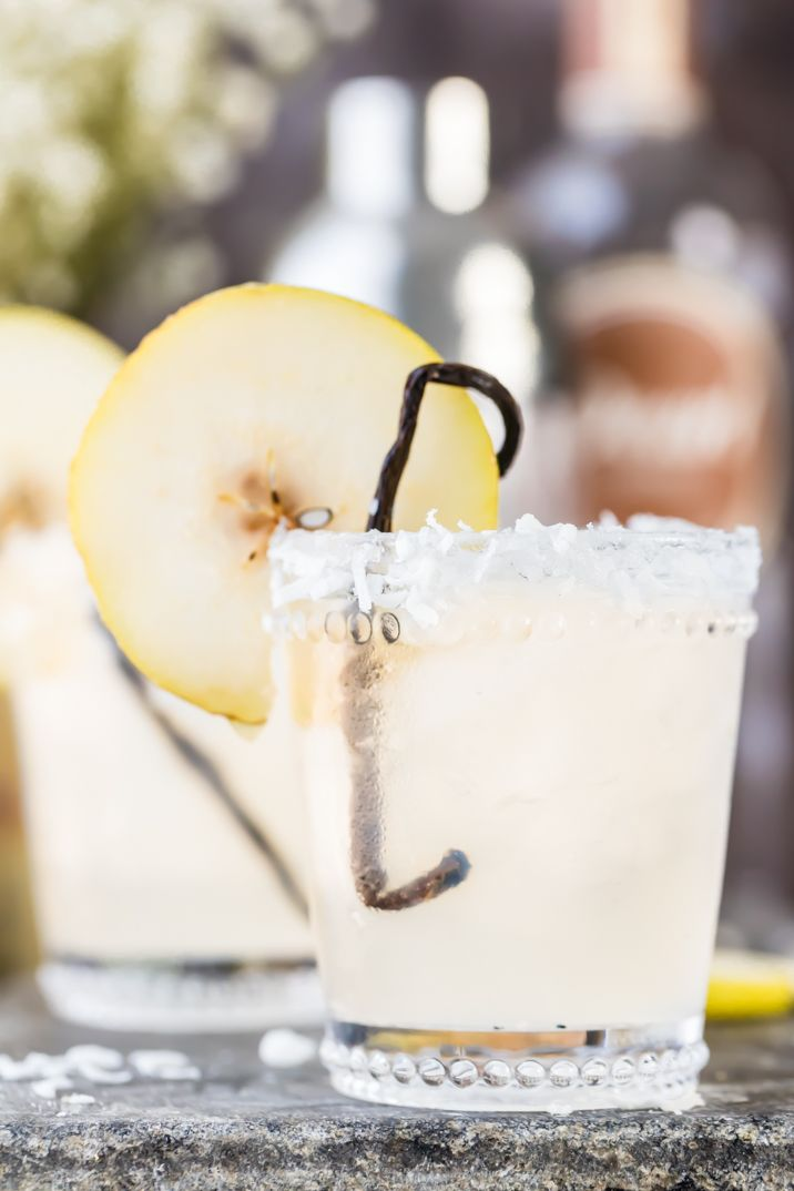 Pear Vanilla Coconut Cooler! Such a beautiful and delicious flavor combo; the perfect cocktail for Fall!!
