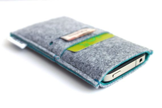 iPhone 5 /iPhone 4- 4S/ Samsung S4/ Alcatel One Touch Sleeve - Light Grey and Blue Marine via Etsy