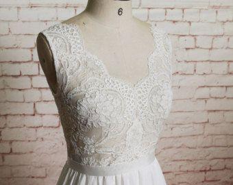 Simple Style Wedding Dress Chiffon Skirt Bridal Gown by LaceBridal