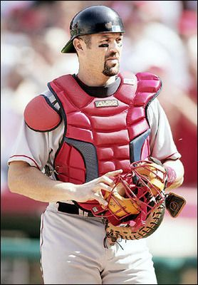 Jason Varitek.  He is the only Red Sox player to catch 1000 games and holds the MLB record for most no hitters caught.
