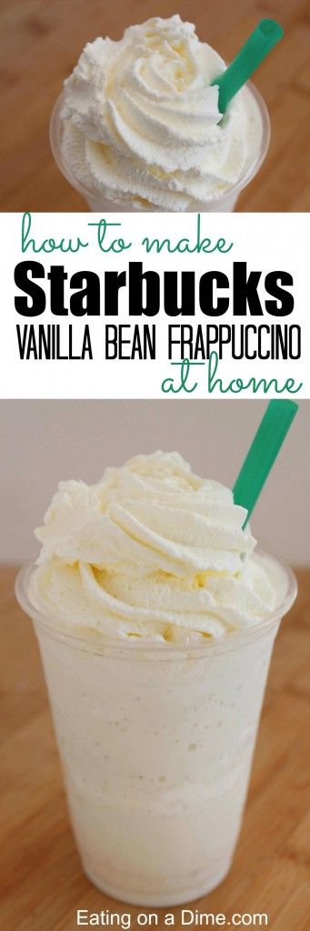 how to make starbucks vanilla bean frappuccino at home. Can very easily be made vegan. Just replace the milk with soy milk and the ice cream with a vegan option. Leave out the whipped cream and you're good to go.