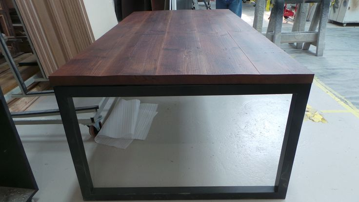 Rustic Style Wire Brushed Solid Oregon Dining Table with Black Custom Frame e: info@aprjoinery.com.au w:aprjoinery.com.au