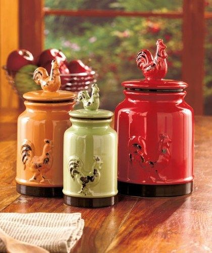 Set Of 3 Rustic Country Rooster Canisters Green 17 Oz Orange 34 Oz Red 59 Oz