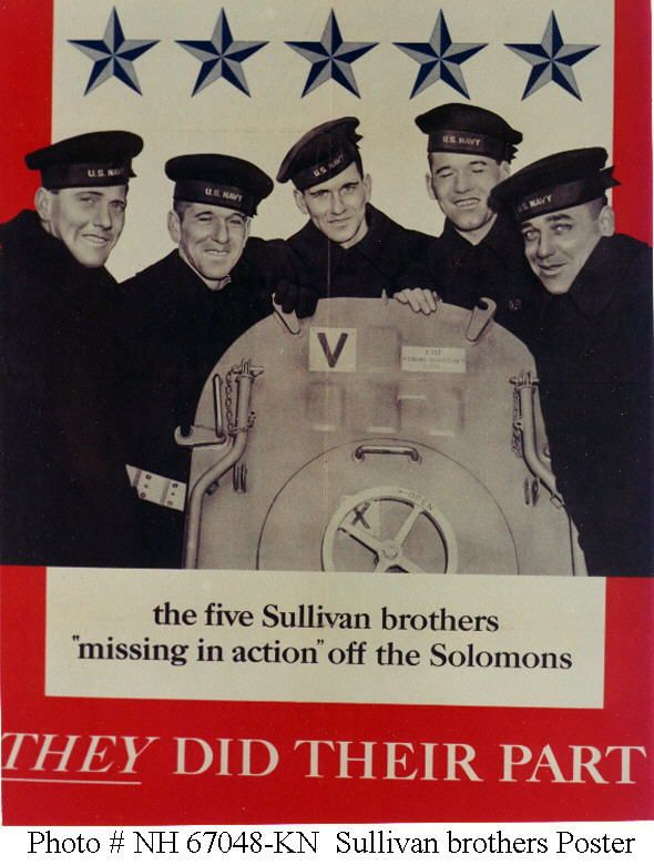 The Sullivan brothers, who recently inducted into the Irish American Hall of Fame, were five siblings who were all killed in action while serving aboard the light cruiser USS Juneau (CL-52) in World War II.