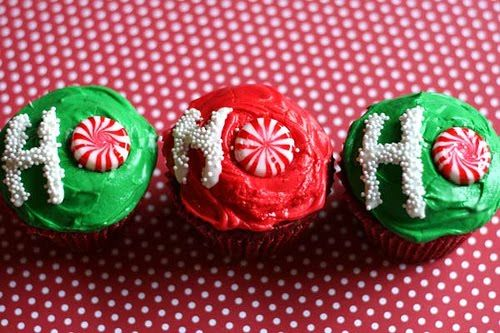 easy and cute ho ho ho christmas cupcakes with green, red, and white frosting, and peppermints.