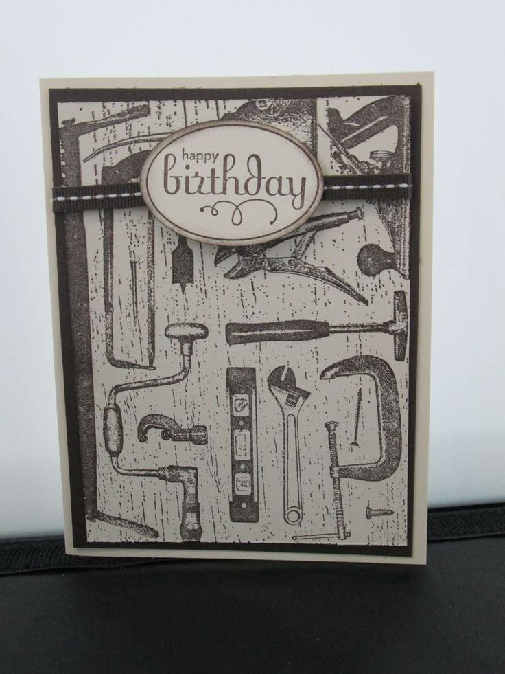 Simple card using Stampin' Up! Tool Shed and Perfect Punches Stamps.  Add a little ribbon and various shades of brown (Soft Suede and Early Espresso) and there you have it! Simple and makes a nice masculine card :) Card by Lisa Bowell-Stampin' Up! Demonstrator @ lisastamps.com