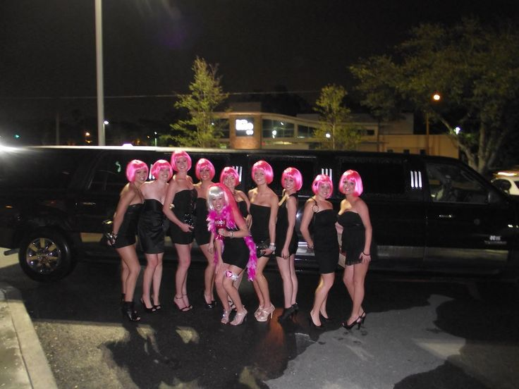 Bachelorette Party Idea All With Pink Wigs And Black Dresses The Bachlorette