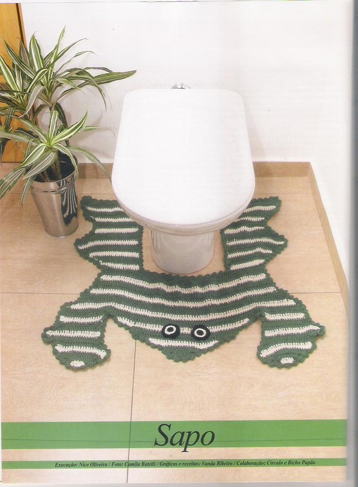 Frog bathroom rug with diagram