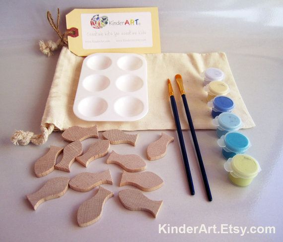 DIY Wooden Fish and Paint Kit (Ocean Blue) in a Bag Arts and Crafts Kit for Kids via Etsy