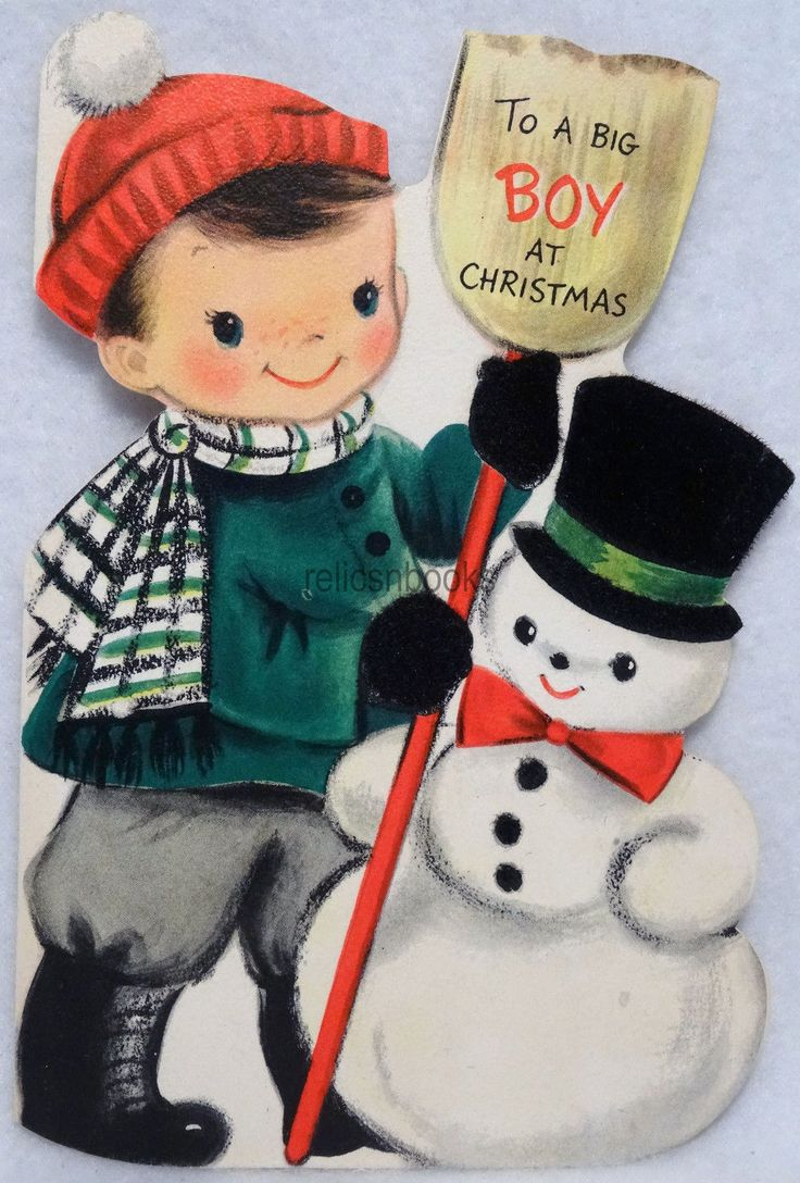 #481 50s Boy & Snowman, Vintage DIE-CUT Christmas Card-Greeting in Collectibles, Paper, Vintage Greeting Cards, Christmas | eBay