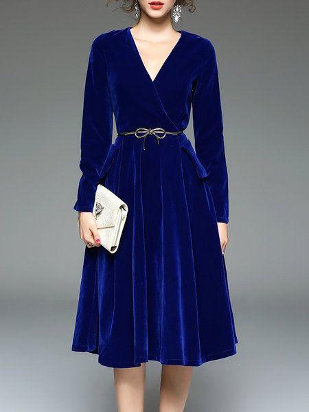 Shop Midi Dresses - Royal Blue Elegant Surplice Neck Swing Solid Midi Dress online. Discover unique designers fashion at StyleWe.com.