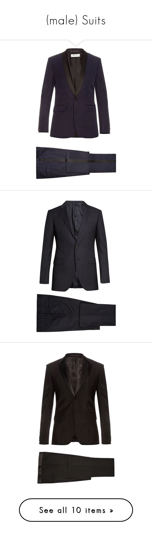"""(male) Suits"" by unicornsxxx ❤ liked on Polyvore featuring men's fashion, men's clothing, men's suits, mens slim suits, mens navy slim fit suit, mens navy suit, mens navy blue suit, mens tailored suits, outerwear and mens slim fit suits"