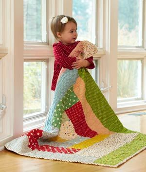 Cute easy-to-make quilt for kids.Polka Dots, Quilt Ideas, For Kids, Log Cabins, Adorable Quilt, Cabin Block, The Block, Logs Cabin, Baby Quilt