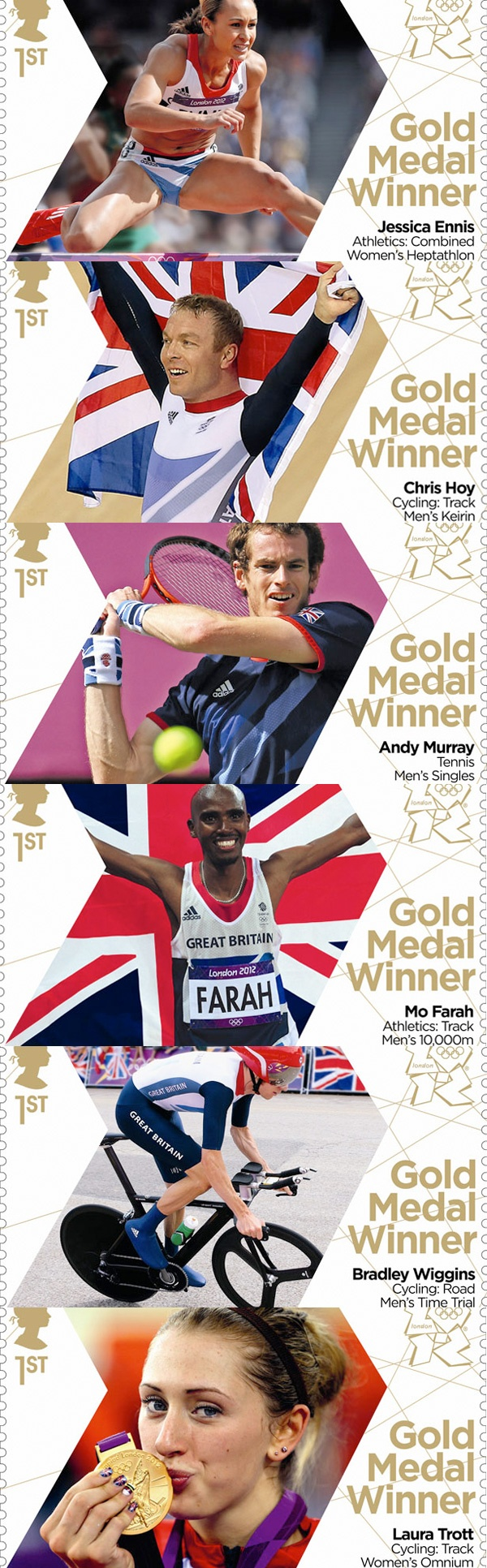 Royal Mail 1st class postage stamps celebrating the London 2012 Olympic Games British Team gold medal winners