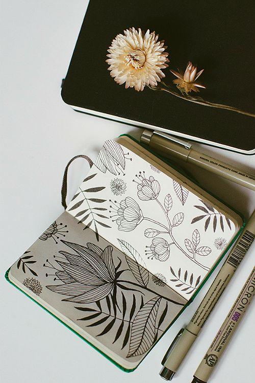 Flower doodles in the art journal