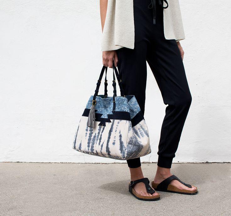 Jerome Dreyfuss | oversize leather blue tie dye bag