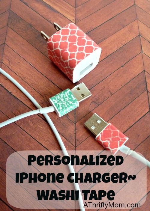 Personalize your iphone/laptop charger with washi tape (so no more fighting over chargers)