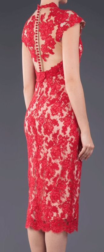 Red lace pencil dress - more → http://fashiononlinepictures.blogspot.com/2013/10/red-lace-pencil-dress.html