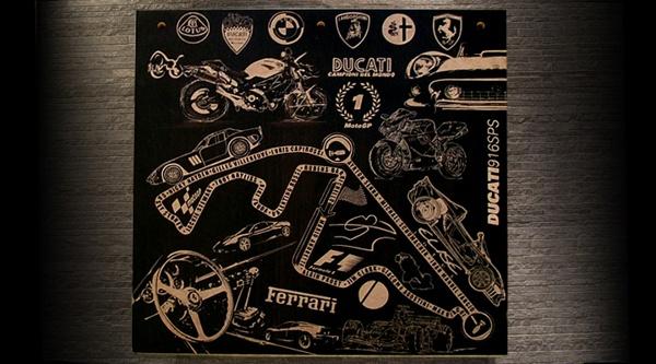 auto.motive by teokon , via Behance  #woodcuts #ferrari #auto #automotive #ducati #lotus #bmw #racing #car #bike #alfaromeo