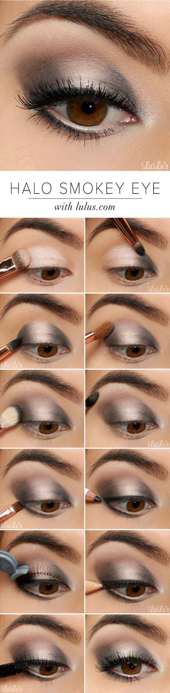 Step by Step Smokey Eye Tutorials - Halo Smokey Eye - Step by Step Tutorials on How to Apply Different Eyeshadows for Smokey Eyes - Awesome Looks for Brown, Black, and Blue Eyes, Natural Looks, and Looks for All Types of Lashes - thegoddess.com/step-by-st (bridesmaid makeup for brown eyes)