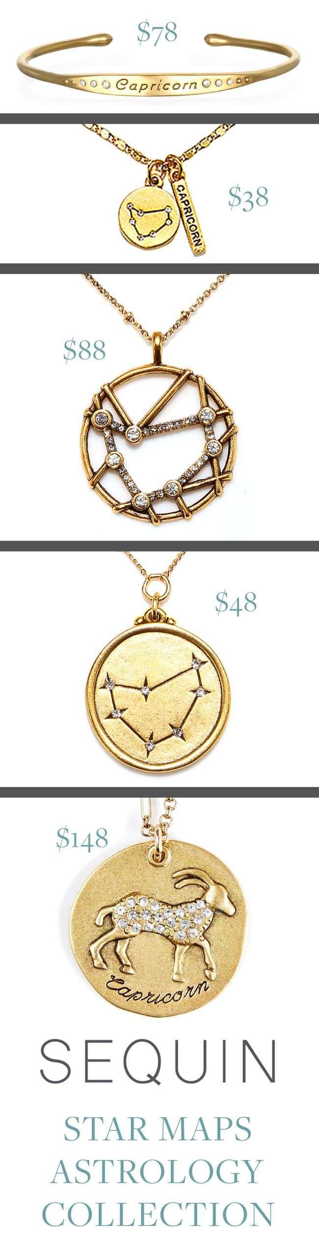 #Capricorn Astrology Jewelry! Sequin's Star Maps Collection illustrates the twelve astrological signs with beautifully detailed interpretations of constellations and zodiac symbols. Each is 22K antique gold- rose-gold or silver-dipped and cast from an original Sequin illustration. Designed & handcrafted in the USA with components from around the world. #CapricornSeason #CapricornZodiac #giftideas #astrologyjewelry