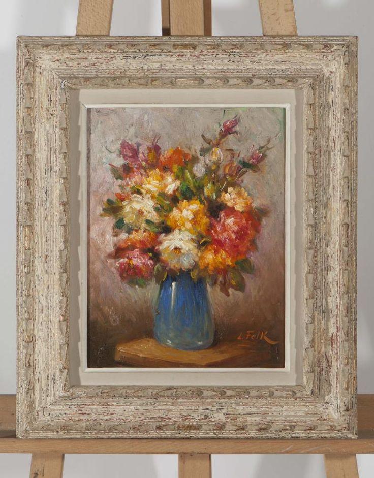 L. Felk (XX wiek) - bukiet kwiatów-olej na płótnie,