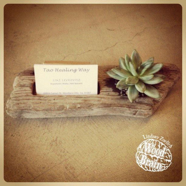 business card holder  ||  Custom driftwood planter & business card holder - love this!