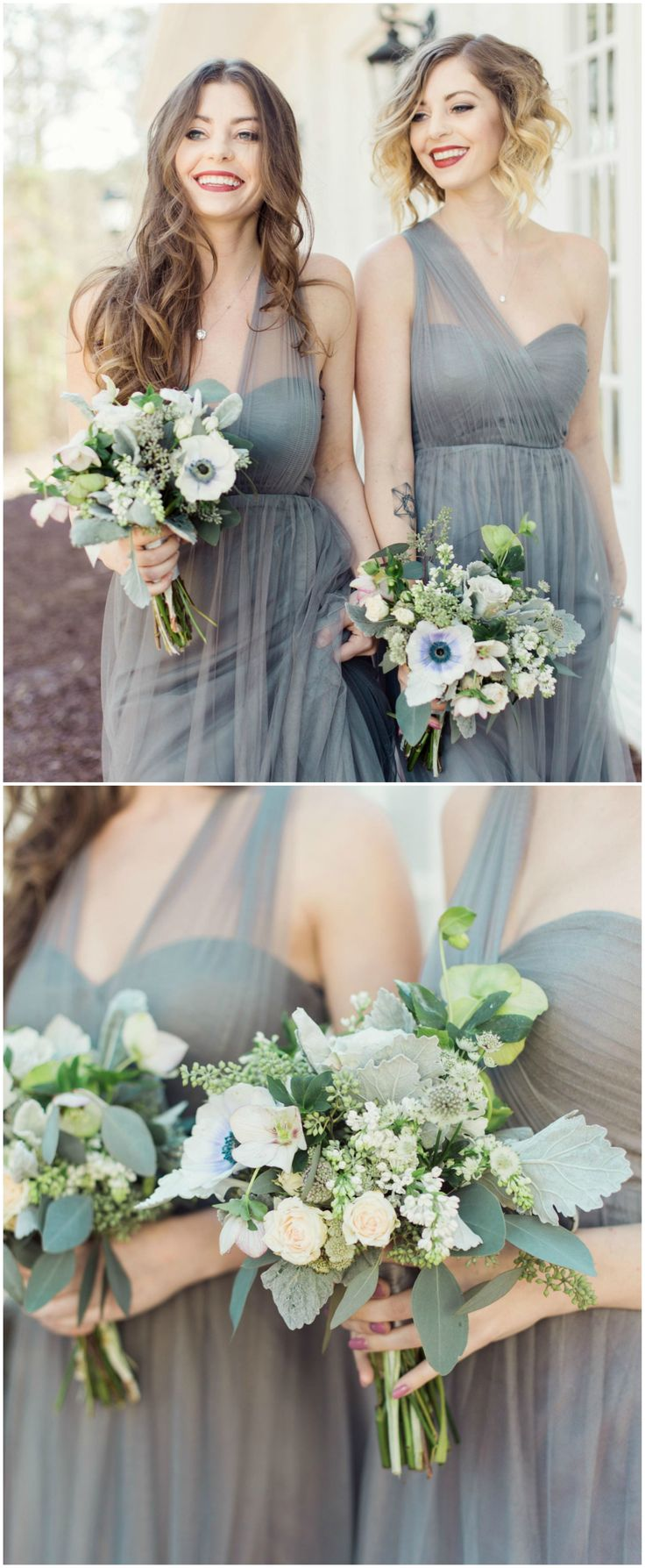 Jenny Yoo bridesmaid dress, heather gray, convertible gown, Annabelle column dress, tulle // Rachel Red Photography