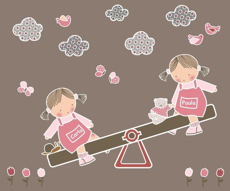 Vinilo infantil niñas en columpio