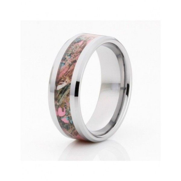 Pink Camo Couple Rings ($66) ❤ liked on Polyvore featuring jewelry, rings, camo rings, pink camo jewelry, pink camo rings, camouflage rings and pink jewelry