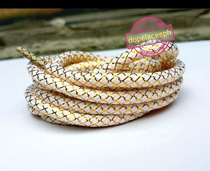 Rope Shoelaces With Gold Strip, Round Shoe Laces, Yeezy ShoeLaces, Yeezy Laces #RopeShoelacesRopeLacesRoundShoelaces
