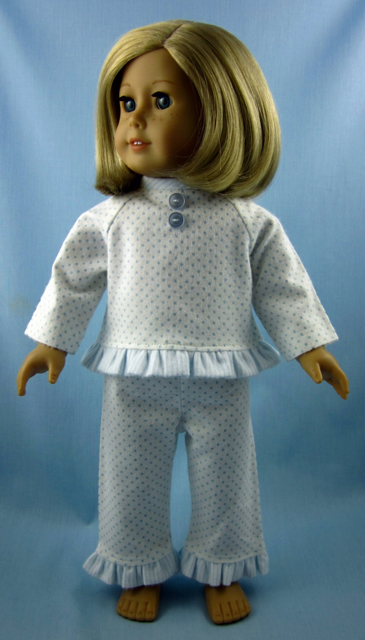 American Girl Doll Clothes - Flannel Pajama and Robe Set in Blue Stripes and Dots. $27.00, via Etsy.