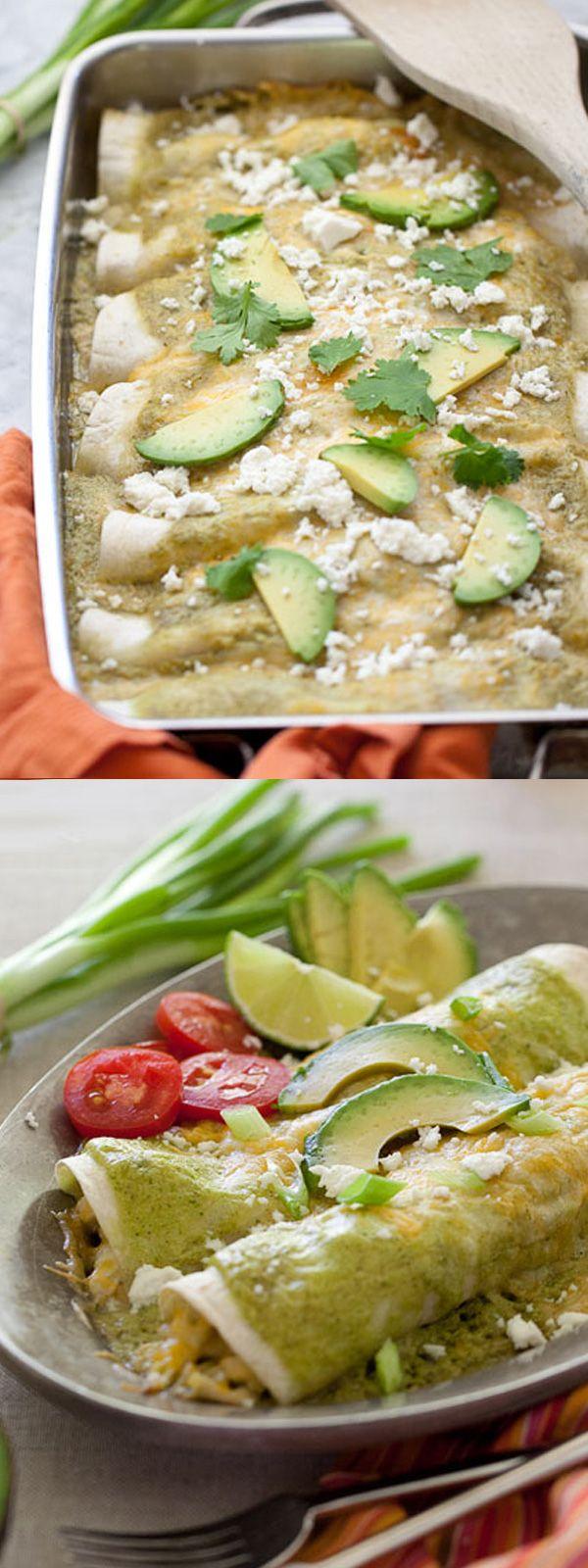 Avocado Cream and Chicken Suiza Enchiladas Recipe   foodiecrush.com