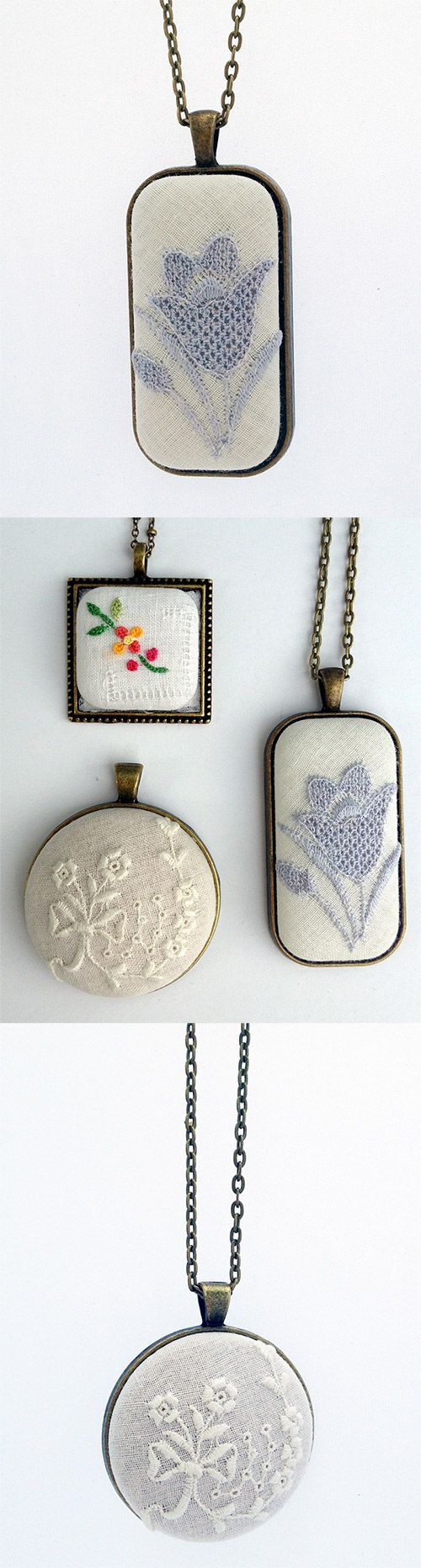 Love, love, love these vintage embroidery pendants! Pretty, one of a kind, unique boho style lace and embroidered textile jewelry by Ceci Leibovitz. http://www.cecileibovitz.com