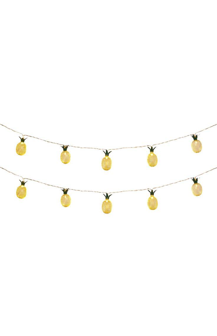 Primark - Metalen lichtslinger ananas, 10 lampjes