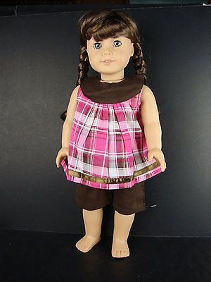 2-piece-Summer-Capri-Outfit-in-Brown-Pink-Plaid-for-18-Inch-Dolls