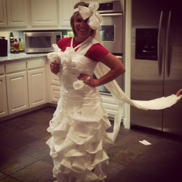 Toilet paper wedding dress game for bridal shower fun my for Wedding dress up games for girls and boys