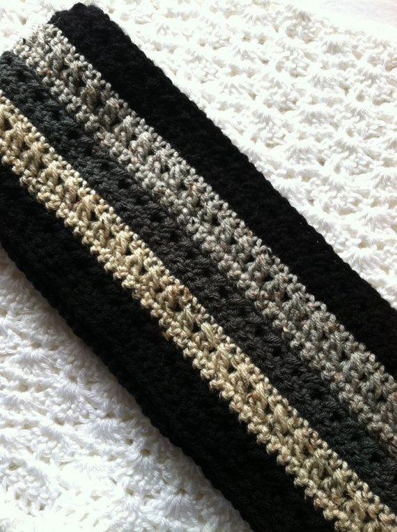 Crochet Men's Scarf in Black, Brown and Tan, Crochet Scarf, Winter Scarf, Black Scarf, Gray Scarf, $35.00