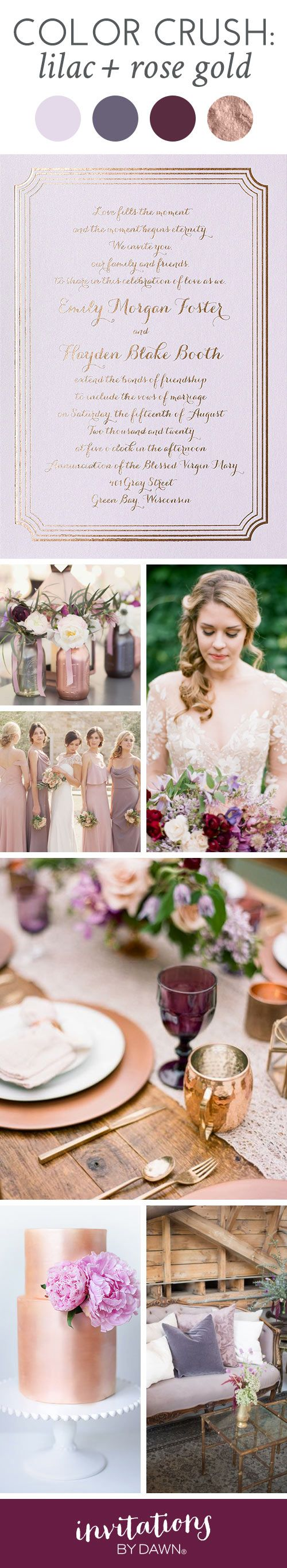 Lilac pairs so well with rose gold, it's absolutely striking! Take a look at the purple and lilac flowers in rose gold and purple shimmer canning jars. We caught ourselves drooling over the rose gold wedding cake with lilac flowers. Shades of purple and especially lilac coordinate with rose gold beautifully while contrasting brilliantly.