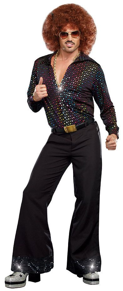 Dreamgirl Go dancing in your platform shoes and become a true Disco Dude in this costume for adults! The color metallic dots give off a club vibe, making you fit right in on any dance floor!                                                                                                                                                     More