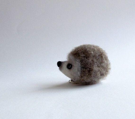 Little Hedgehog, needle felted animal, Hedgehog Pin/MADE TO ORDER