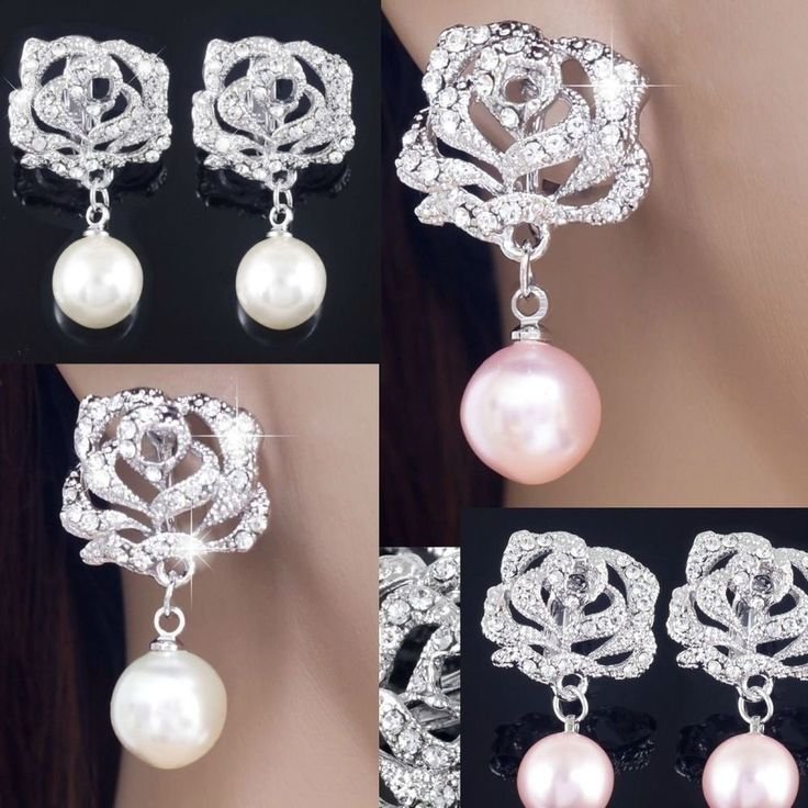 #E505A Bridal CLIP ON screw back EARRINGS Rose Flower Clear Crystal Faux Pearl #Unbranded #Cliponscrewback