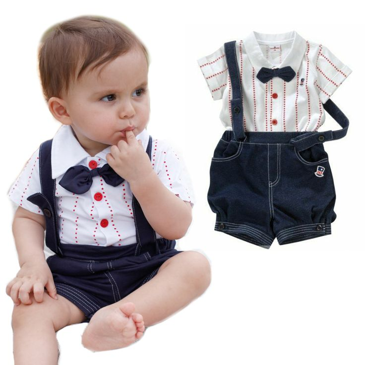 2pcs Baby Boy Top T Shirt Overalls Pants Shorts Set Outfit Clothes Bow Tie Boys Baby Boy And