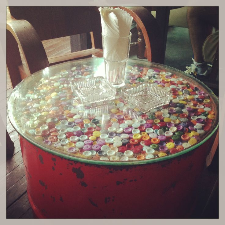 Retro Design, Button Topped, Oil Drum Table. Chic Room Cafe, Phuket Http